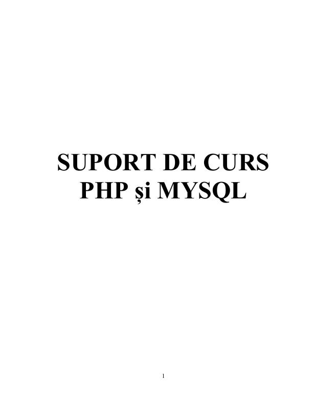 SUPORT DE CURS  PHP și MYSQL