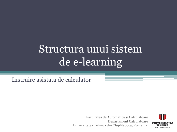 Structura unui sistem  de e-learning