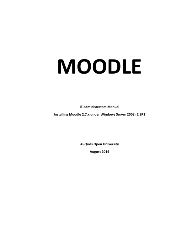 Moodle. IT administrators Manual
